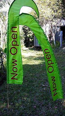2 x Now Open Bali Style Flags 2 mtr tall complete with bamboo sticks