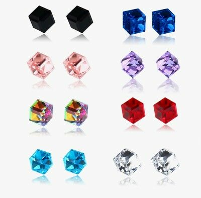 1PC womens 6mm Cubic Surgical Titanium Crystal Magnetic Stud Earrings NoPiercing