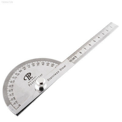 879E Stainless Steel Round Head Rotary Protractor Angle Finder Rule Gauge Tool