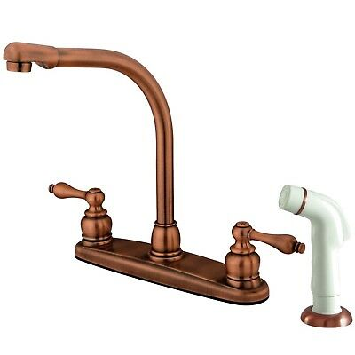 Kingston Brass Antique Copper High Arch Kitchen Faucet With Sprayer KB716AL