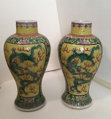 PAIR 19th C Enameled Yellow Chinese Garniture Vases 5 Claw Dragons Chasing Pearl