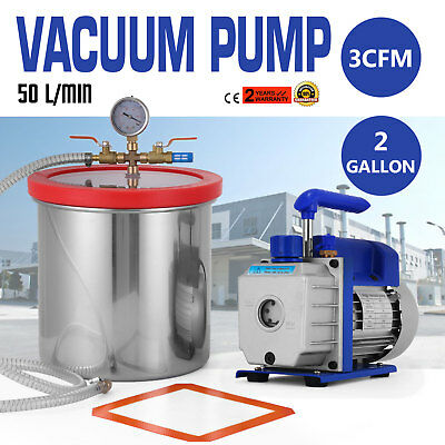New 50 l/ min Vacuum Chamber and 3 CFM 2Gallon Stage Pump Degassing Kit