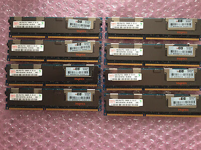 64Gb, 8x 8Gb PC3 10600R Registered server memory, 2Rx4, HP 500205-071
