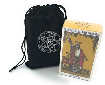 Rider Waite Tarot Deck 78 Cards Regular Size + Velvet Cloth Bag and Instructions