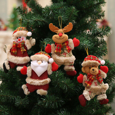Christmas Ornaments Santa Claus Snowman Reindeer Toy Doll Hang Decoration ZP