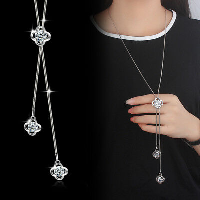 Muye 925 Sterling Silver Necklace Crystal Flower Pendant For Women Fashion Gift