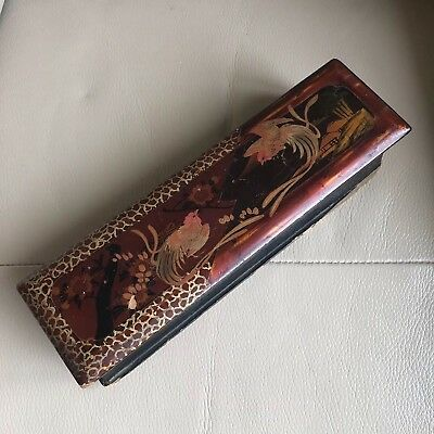 Antique Glove Box Chinese Black Brown Lacquer Birds Gilded Pencil Fan Brush