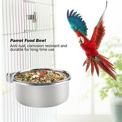 Stainless Steel Bowl Water Food Holder Crate Food Parrot Bird Cage Accessory