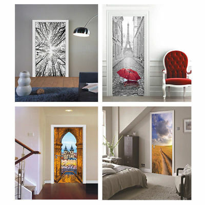 AU Creative 3D Removable Self-adhesive Door Sticker Mural Poster Decal Wallpaper