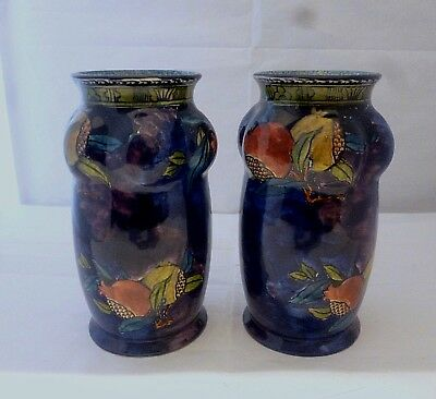 VINTAGE 1920/30s HANCOCK & Sons RUBENS WARE pottery pair of pomegranate vases