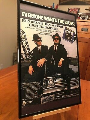 """2 FRAMED THE BLUES BROTHERS"""" MOVIE SOUNDTRACK LP ALBUM PROMO ADS (2 sizes)+ more"""