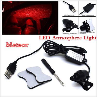Car USB LED Atmosphere Ceiling Star Light Meteor Sky Red Festival Decorative