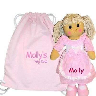Personalised 40cm Rag Doll  Flower Girl Birthday New Baby's 1st Christmas Gift