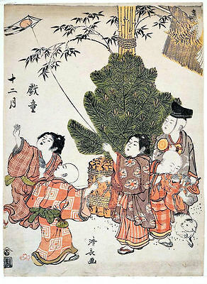 Japanese Woodblock Reproduction Print Costume Picture By Torii Kiyonaga