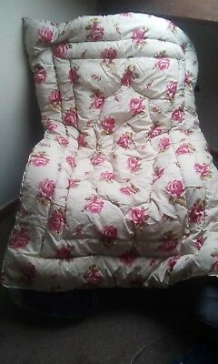 Vintage Feather Eiderdown Rose / Red Reversible Single Bed Or Centre Panel Pelaw