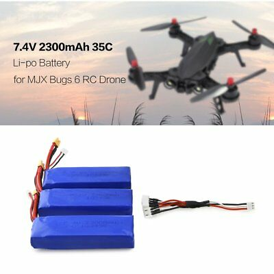 3Pcs 7.4V 2300mAh 35C Li-po Battery XT30 Plug for MJX Bugs 6 B6 RC Drone LS