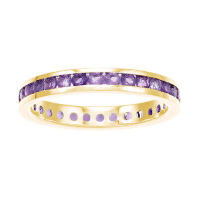 Christmas Special 14K Yellow Gold Over Channel-Set Amethyst Birthstone Ring