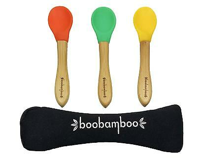 Boobamboo Silicone Baby Led Weaning Spoon Set, Multicolour 3 Pcs with Travel Bag