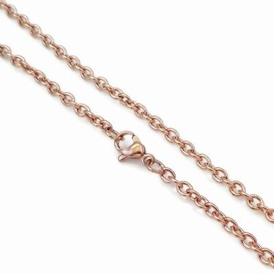 2 x Stainless Steel 60cm Rose Gold Tone Cable Chain Necklaces 4mm x 3mm Links