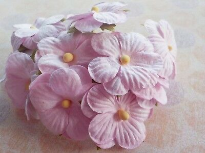50! Pastel Mauve Pink Mulberry Paper Cherry Blossom: Paper Flower Embellishments