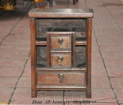 """16"""" Old Chinese Dynasty Huanghuali Wood Carved Drawer Cabinet Storage cabinets"""