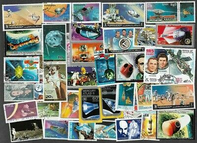Space 100 all different mainly large colourful stamps