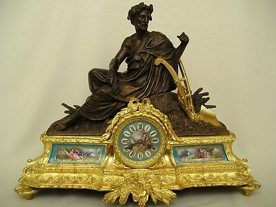 Large Antique Allegorical Figural Gilt Bronze Clock with Sevres Porcelain c 1870