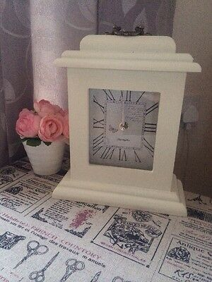 Shabby cottage country Cream Classic Chic mantle Mantel clock