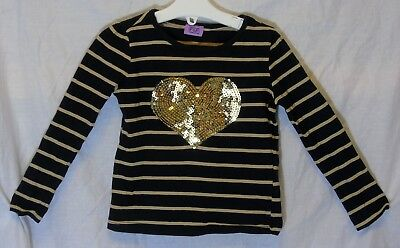 Baby Girls F&F Black Gold Sparkly Sequins Heart Long Sleeve Top Age 18-24 Months
