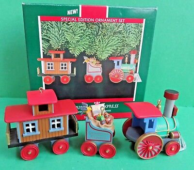 1989 Hallmark THE ORNAMENT EXPRESS 3 Handcrafted Christmas ornaments Special Edi