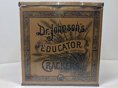 1890 Vintage Dr. Johnson's Educator Crackers Tin Can Box Advertising Antique