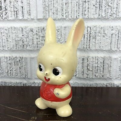 Vintage Japan Plastic Vinyl Bunny Rabbit Coin Bank Red Shirt White