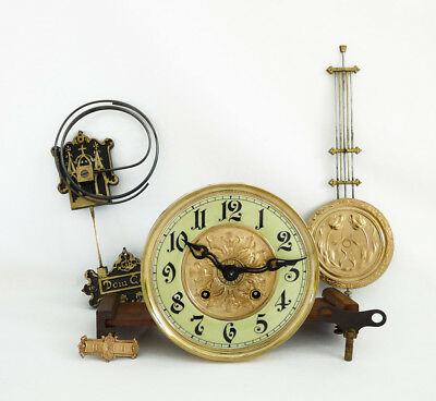 GUSTAV BECKER Complete Free Swinger Wall Clock Movement Cathedral Gong Germany