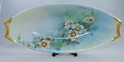 Hutschenreuther Selb Celery Serving Dish  Bavaria Hand Painted Floral Gold Gilt