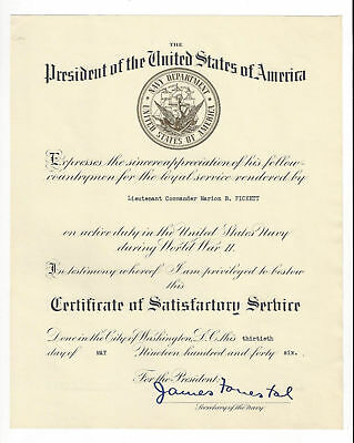 James Forrestal Secretary of the Navy document signed and dated May 13 1946
