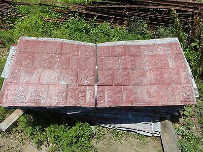 "Vintage Metal Barn Ceiling Tin Decorative Stone Not Corrugated ~ 59"" x 25"""