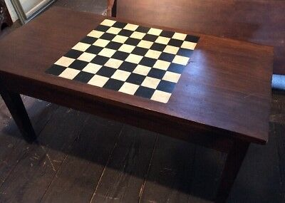 "Antique Checkerboard Solid Coffee Tavern Table Dark Wood 47"" L  23 1/2"" W 22"" H"