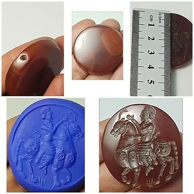 Very rare roman old agate horse riding intaglio seal bead