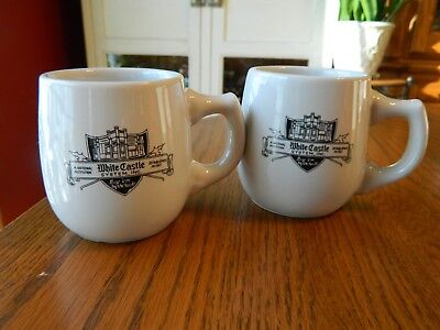 2 White Castle Vintage Small White Coffee Mugs with Ashtray Bottom Cup