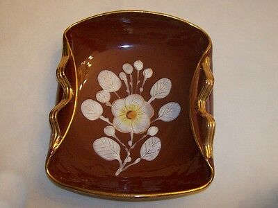 Vintage ITALIAN CERAMIC BOWL Brown White Floral Gold Hand Painted ITALY Retro