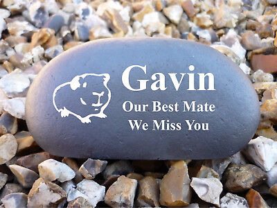 Memorial Pebble (Stone effect) Personalised - Weatherproof - Guinea Pig - Medium