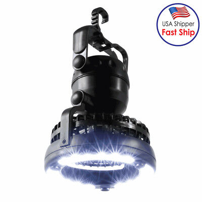 2 In 1 Camping Ceiling Fan Light Night Hanging Tent Lamp Lantern Outdoor 18 LED