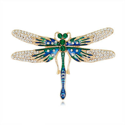 New Fashion Green Crystal Enamel Gold Plated Dragonfly Brooch Pin For Lady Gift