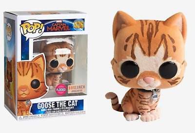 FUNKO POP ! Captain Marvel : Goose The Cat FLOCKED Box Lunch Exclusive AVENGERS