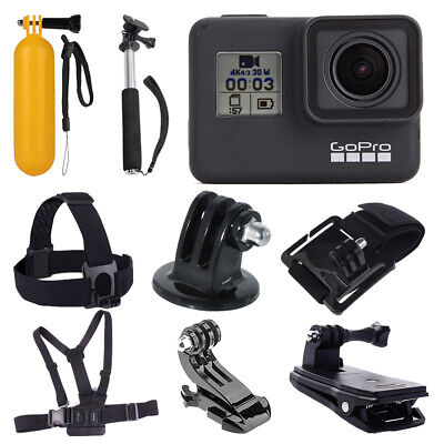 GoPro HERO7 (Black) Waterproof Digital Action Camera + Monopod +Chest Head Strap