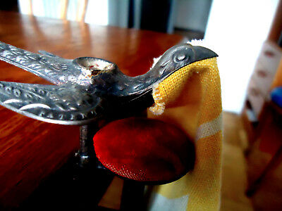 Vtg Metal Sewing Bird w. Cushion for pins and Clamp, bird's mouth holds fabric