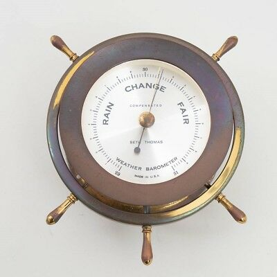 Vintage Seth Thomas Brass Ship's Weather Barometer 1508 HELMSMAN E537-011