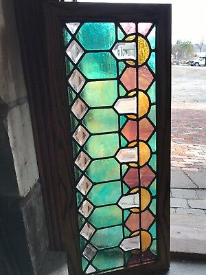SG 2718 antique restored beveled glass transom window 15.25 x 37
