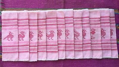 Set 12 Vintage Cocktail Napkins Handwoven Pink Cotton W/embroidered Birds Mexico