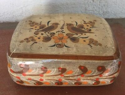 Vintage Lacquered Mexico Trinket Box W/birds Artist Signed Paper Mache Tonala